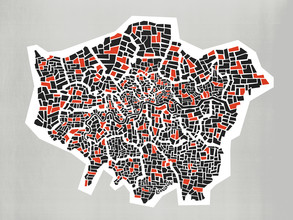 Fox And Velvet, Abstract London Borough Map (United Kingdom, Europe)
