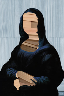 Marko Köppe, Mona Lisa - blue shining Wood Cut Collage (Germany, Europe)