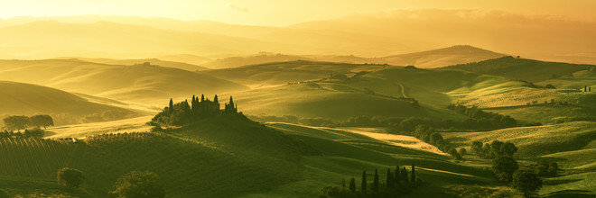 Jean Claude Castor, Toskana sanfte Hügel im Sonnenlicht (Italien, Europa)