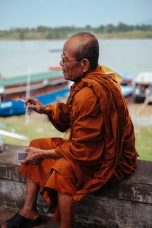 Jim Delcid, Monk in Cambodia Smoking (Cambodia, Asia)
