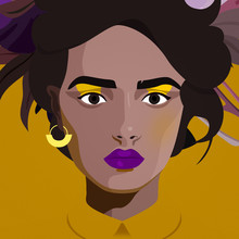 Helene Boutanos, Portrait n°2 : Dark eyebrows woman (France, Europe)
