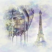 Melanie Viola, Typisch Paris im Aquarell Stil (Frankreich, Europa)