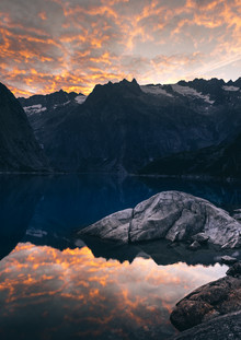 Niels Oberson, Burning Clouds at Lake Gelmer (Switzerland, Europe)