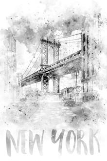 Melanie Viola, Monochrome Kunst NYC Manhattan Bridge | Aquarell (Vereinigte Staaten, Nordamerika)