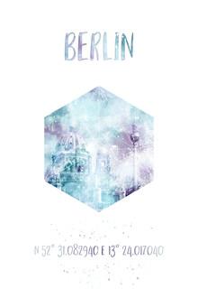 Melanie Viola, Koordinaten BERLINER DOM & FERNSEHTURM | Aquarell (Deutschland, Europa)
