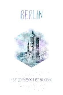 Melanie Viola, Koordinaten BERLIN Gedächtniskirche | Aquarell (Deutschland, Europa)