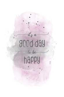 Melanie Viola, It is a good day to be happy | Aquarell rosa (Deutschland, Europa)
