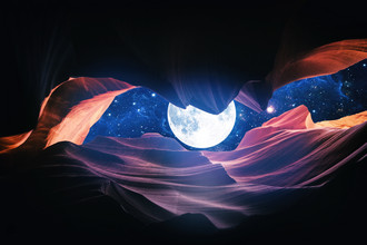 Art Design Works, Grand Canyon with Space & Full Moon Collage I (, )