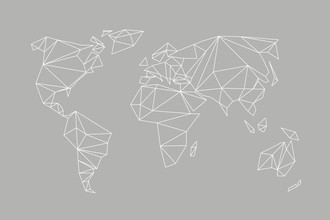 Studio Na.hili, Geometrical World Map Grey (Germany, Europe)