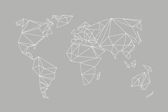 Studio Na.hili, Geometrical World Map Grey (Deutschland, Europa)