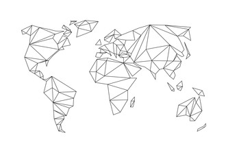 Studio Na.hili, Geometrical World Map White (Germany, Europe)