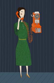 Die Telefonfrau - fotokunst von Andrea Hansen