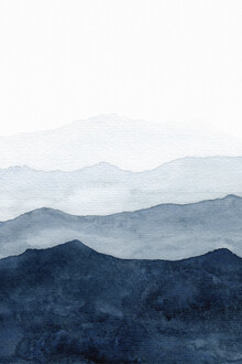 Cristina Chivu, Mountains Ombre | Indigo Abstract Watercolor (Großbritannien, Europa)