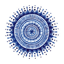 Cristina Chivu, Blue Watercolor Mandala (United Kingdom, Europe)