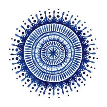 Cristina Chivu, Blue Watercolor Mandala (Großbritannien, Europa)