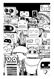 Katherine Blower, Robots Ink Drawing (Großbritannien, Europa)