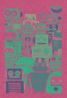 Katherine Blower, Robots Screen print (Großbritannien, Europa)