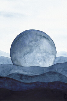 Cristina Chivu, Moon Landscape | Watercolor Painting (United Kingdom, Europe)