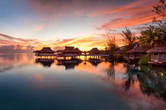 Jan Becke, Romantic sunset on Bora Bora in French Polynesia (French Polynesia, Oceania)