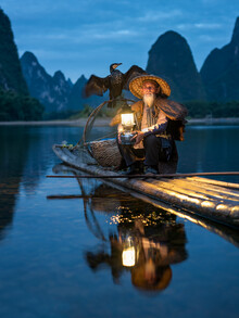 Jan Becke, Traditioneller chinesischer Kormoranfischer bei Guilin (China, Asien)