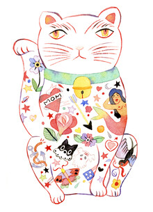 Rumi Hara, Maneki Cat - White 1 (United States, North America)