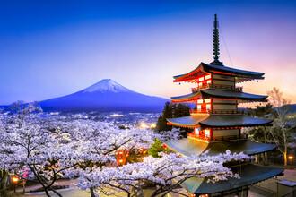 Jan Becke, Chureito Pagode und Berg Fuji bei Nacht (Japan, Asien)