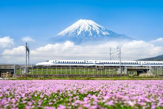 Jan Becke, Shinkansen Zug fährt vorbei am Berg Fuji (Japan, Asien)