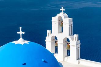 Jan Becke, Blaues Dach der St. Gerasimos Kirche in Fira (Griechenland, Europa)