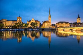 Jan Becke, Zurich city view in the evening (Switzerland, Europe)