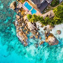 Jan Becke, Seychellen Luftaufnahme am Strand (Seychellen, Afrika)