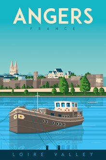François Beutier, Angers an der Loire Vintage Travel Wandbild (Frankreich, Europa)