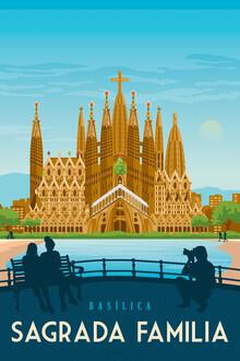 François Beutier, Sagrada Familia Barcelona Vintage Travel Wandbild (Spanien, Europa)