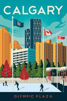 François Beutier, Calgary Olympic Plaza Vintage Travel Wandbild (Kanada, Nordamerika)