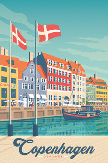 François Beutier, Kopenhagen Vintage Travel Wandbild (Dänemark, Europa)