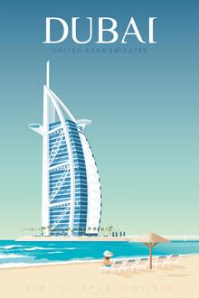 François Beutier, Burj Khalifa Dubai vintage travel wall art (United Arab Emirates, Asia)