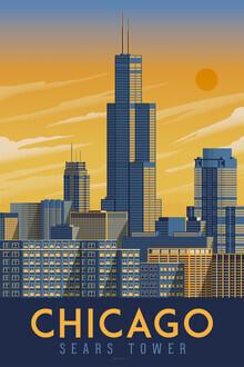 François Beutier, Chicago Sears Tower Vintage Travel Wandbild (Vereinigte Staaten, Nordamerika)
