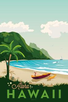 François Beutier, Hawaii Vintage Travel Wandbild (Vereinigte Staaten, Nordamerika)