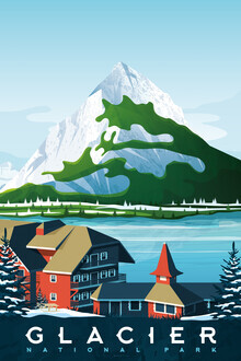 François Beutier, Glacier National Park Vintage Travel Wandbild (Vereinigte Staaten, Nordamerika)