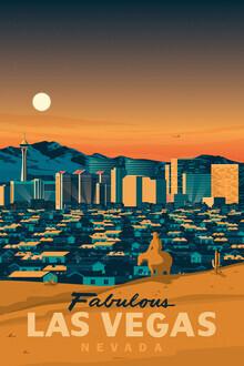François Beutier, Las Vegas Nevada Vintage Travel Wandbild (Vereinigte Staaten, Nordamerika)