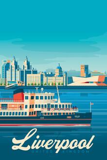 François Beutier, Liverpool Vintage Travel Wandbild (Großbritannien, Europa)