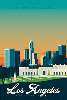 François Beutier, Los Angeles Griffith Observatory vintage travel wall art (United States, North America)