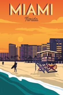 François Beutier, Miami Vintage Travel Wandbild (Vereinigte Staaten, Nordamerika)