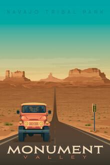 François Beutier, Monument Valley Vintage Travel Wandbild (Vereinigte Staaten, Nordamerika)