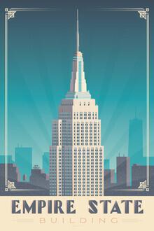 François Beutier, Empire State Building New York Vintage Travel Wandbild (Vereinigte Staaten, Nordamerika)