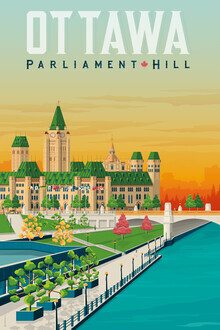François Beutier, Parliament Hill Ottawa Vintage Travel Wandbild (Kanada, Nordamerika)