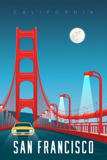 François Beutier, Golden Gate Bridge San Francisco Vintage Travel Wandbild (Vereinigte Staaten, Nordamerika)