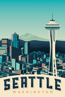 François Beutier, Seattle Vintage Travel Wandbild (Vereinigte Staaten, Nordamerika)