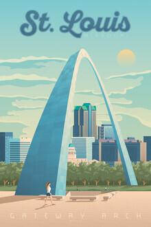 François Beutier, Gateway Arch St. Louis Vintage Travel Wandbild (Vereinigte Staaten, Nordamerika)