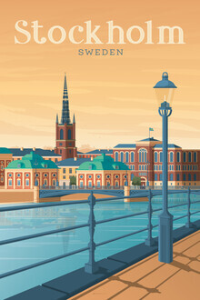 François Beutier, Stockholm Vintage Travel Wandbild (Schweden, Europa)