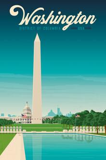 François Beutier, Washington Vintage Travel Wandbild (Vereinigte Staaten, Nordamerika)